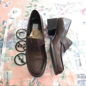 Bandolino Brown Chunky Heel Loafers